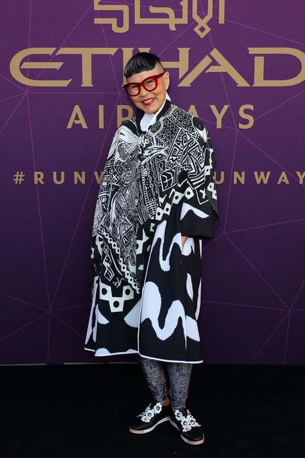 Jenny Kee arrives at the 2017 Australian Fashion Laureate Awards.