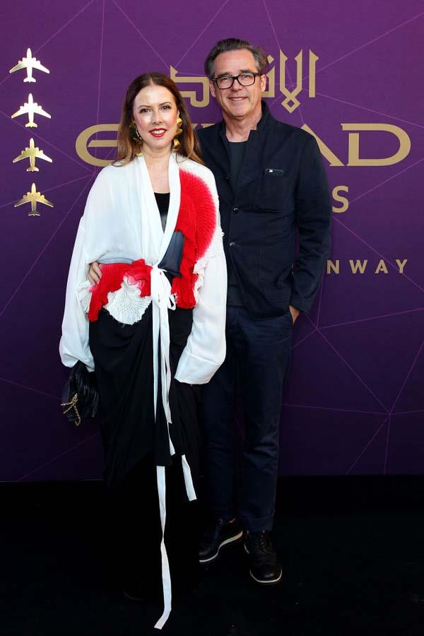 Louise Olsen and Stephen Ormandy, of Dinosaur Designs, arrive at the 2017 Australian Fashion Laureate Awards.
