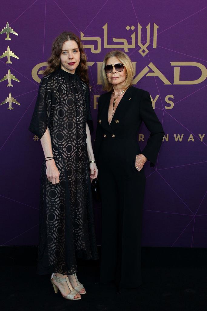 Bianca Spender and Carla Zampatti arrive at the 2017 Australian Fashion Laureate Awards.