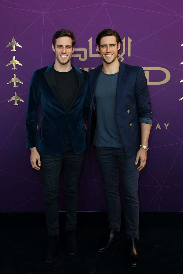 Jordan Stenmark and Zac Stenmark arrive at the 2017 Australian Fashion Laureate Awards.