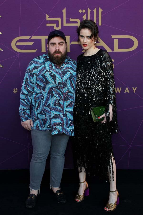 Luke Sales and Anna Plunkett arrive at the 2017 Australian Fashion Laureate Awards.
