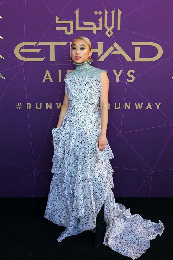 Margaret Zhang arrives at the 2017 Australian Fashion Laureate Awards.