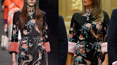 Melania Trump Wears Chinese-Inspired Gucci Dress in Beijing