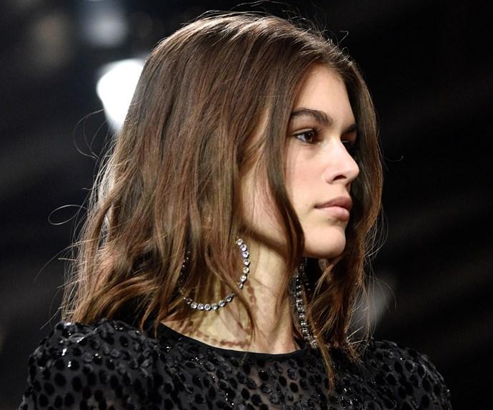 kaia gerber brown hair