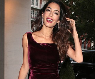 Amal Clooney Burgundy Velvet Dress