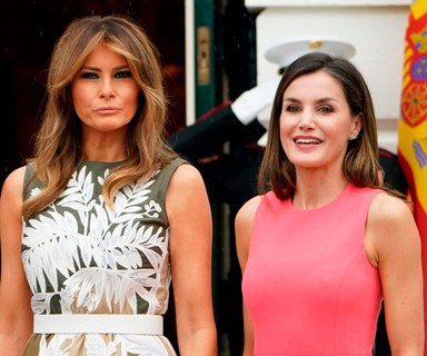 Queen Letizia Opts For An American Designer During Her First Meeting Melania Trump