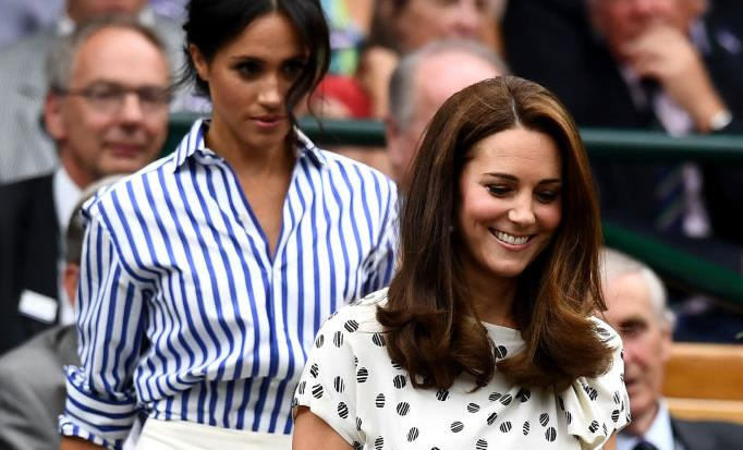 Kate Middleton and Meghan Markle at Wimbledon 2018.