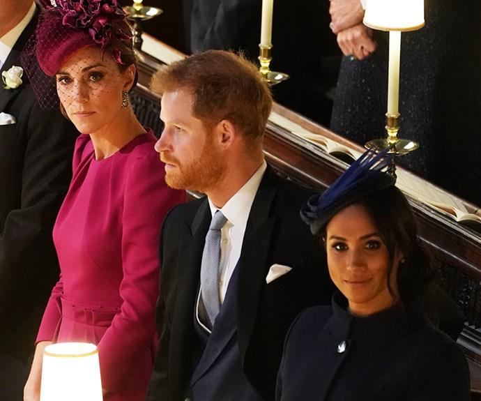 Kate Middleton and Meghan Markle at Princess Eugenie's wedding.