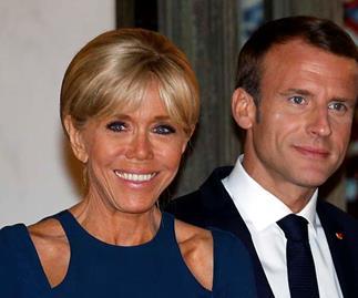 Brigitte Macron blue dress