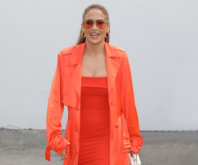 Jennifer Lopez neon dress