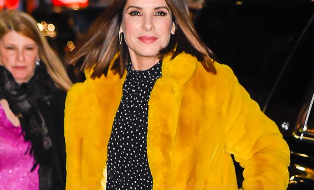 Sandra Bullock Steps Out Looking Ageless In Polka Dots And Thigh-High Boots