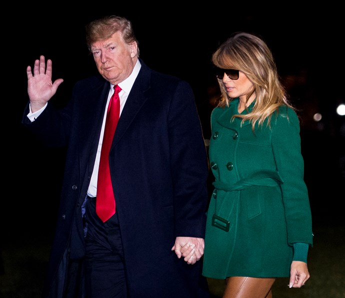 Melania Trump Wears Optical-Illusion Leather Pants To Visit Troops In Iraq