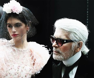 Kaia Gerber and Karl Lagerfeld.
