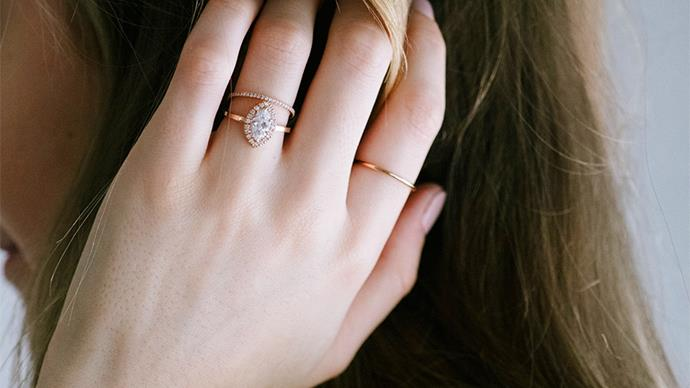 Rose gold engagement ring.