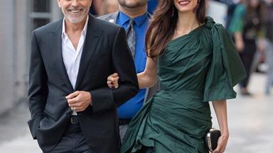 Amal Clooney Attends The 'Catch 22' Premiere In Petrol Green Oscar De La Renta