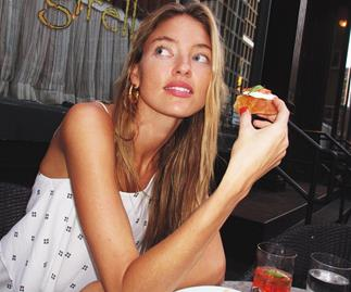 Victoria's Secret Model Martha Hunt Eating Food