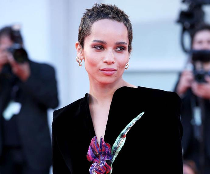 Zoë Kravitz with a pixie haircut.