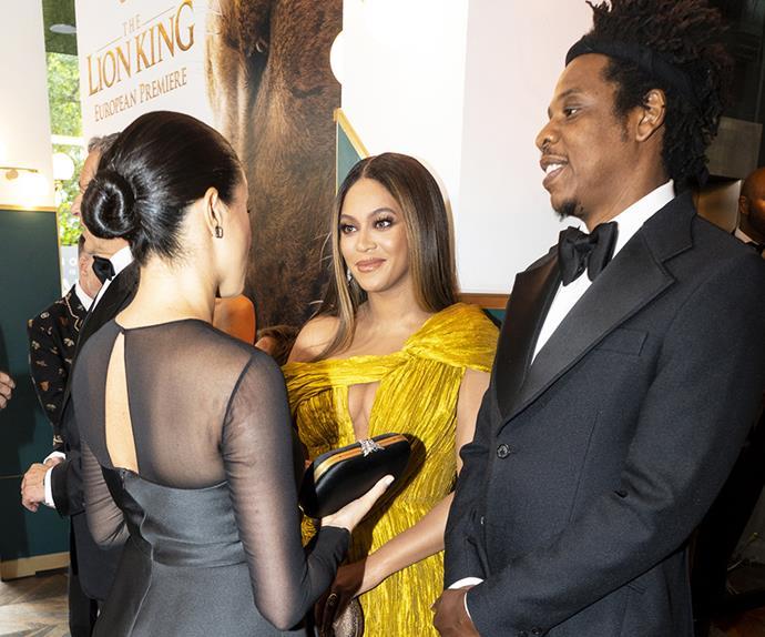 Beyoncé meets Meghan Markle at the premiere of 'The Lion King' 2019.