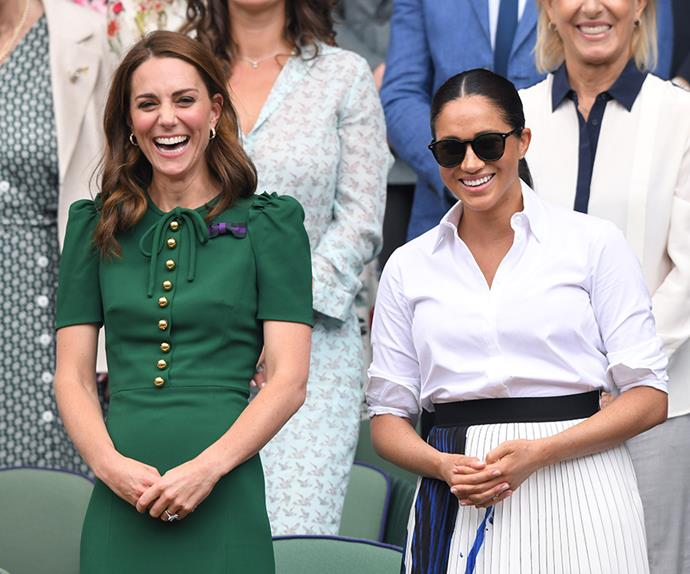 Kate Middleton and Meghan Markle attend Wimbledon 2019.