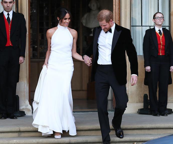 Meghan Markle and Prince Harry leaving their wedding reception.