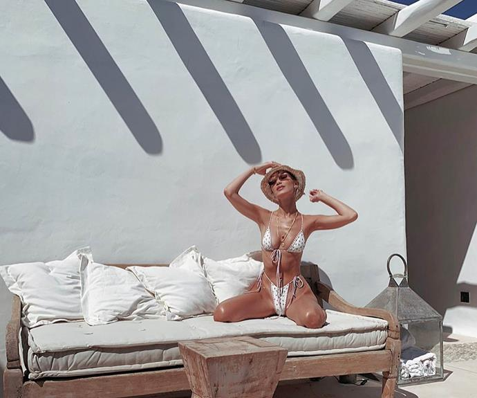 Bella Hadid on vacation in Mykonos.