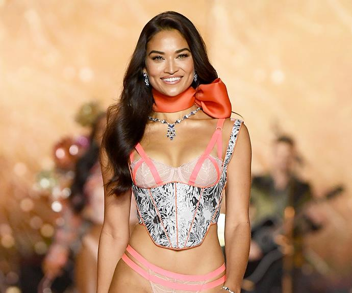 Shanina Shaik walking the 2018 Victoria's Secret Fashion Show.