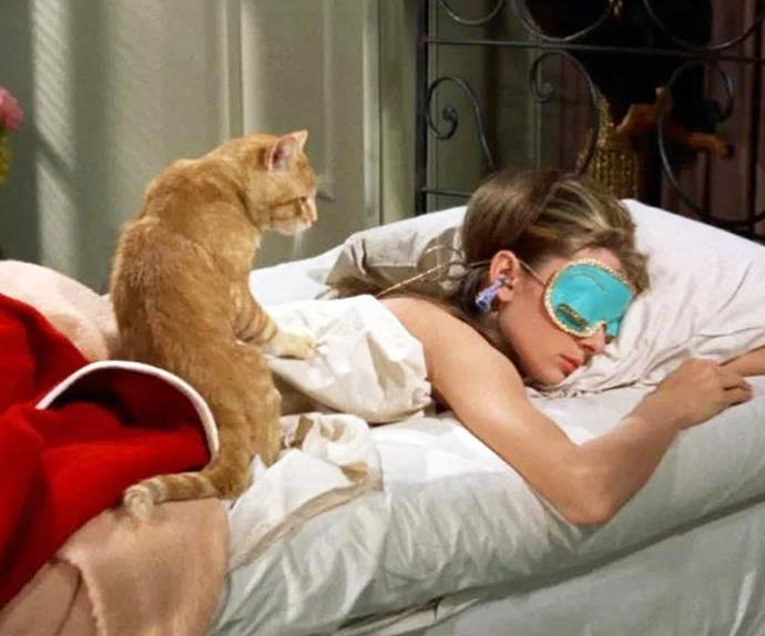 Audrey Hepburn wearing her sleep mask in Breakfast at Tiffany's.