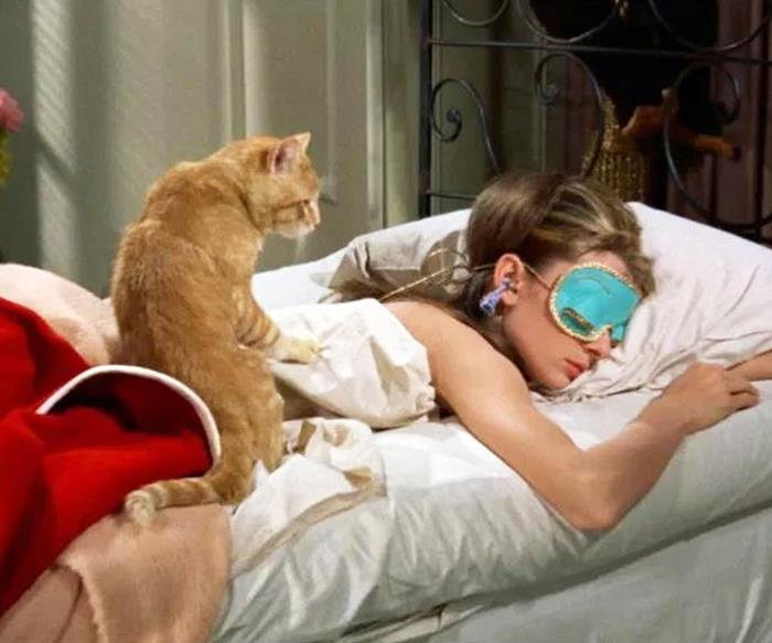 Audrey Hepburn wearing her sleep mask in Breakfast at Tiffany's.