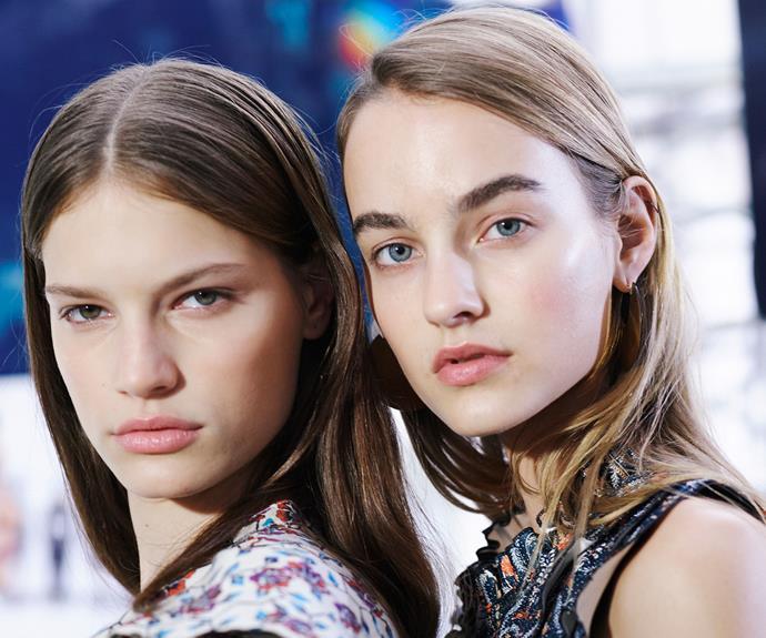 Models backstage and Isabel Marant.