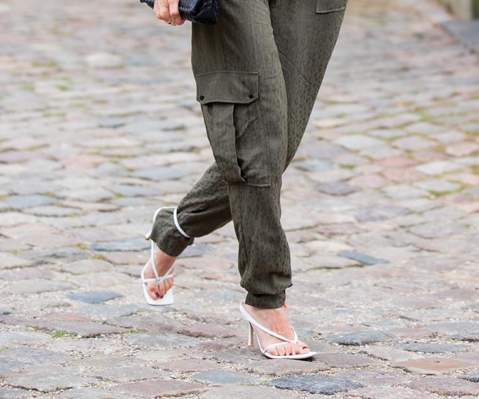 Strappy heels.