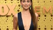 Emilia Clarke Debuts Waist-Length Hair In Plunging Gown At The Emmys