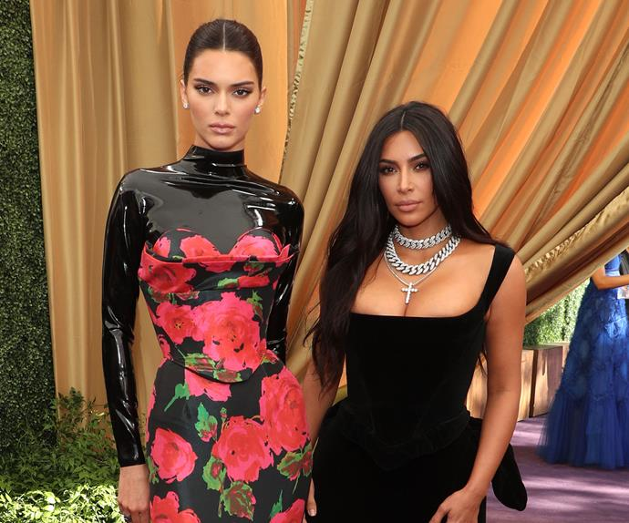 Kendall Jenner and Kim Kardashian West at 2019 Emmy Awards.