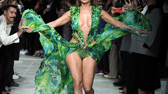 Jennifer Lopez walking the Versace Spring/Summer 2020 Runway at Milan Fashion Week.