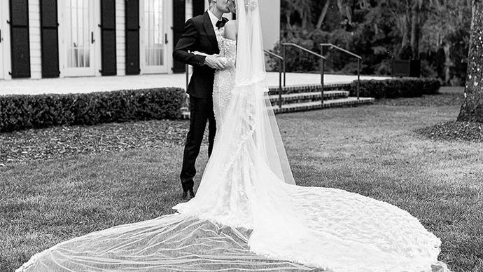 Hailey Bieber wedding dress.
