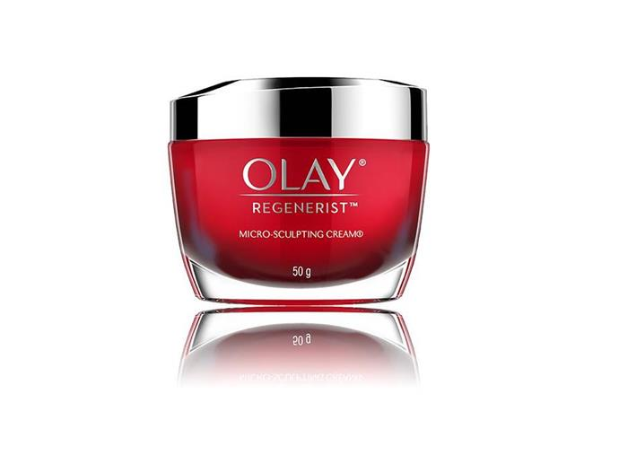 "***[Olay Regenerist Micro-Sculpting Cream](https://www.olay.com.au/en-au/skin-care-products/regenerist-micro-sculpting-cream|target=""_blank""), $48.99 from [Priceline](https://www.priceline.com.au/brand/olay/olay-regenerist-micro-sculpting-cream-moisturiser-50-g