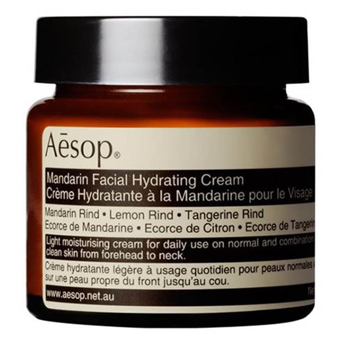 "**Mandarin Facial Hydrating Cream by Aesop** <br><br> Aesop is known for their simple, nature-infused approach to skincare, and their Mandarin Facial Hydrating Cream is their most effective product for maintaining combination and oily skin. <br><br> *$55 for 60mL at [ADOREBEAUTY](https://www.adorebeauty.com.au/aesop/aesop-mandarin-facial-hydrating-cream-60ml.html|target=""_blank""