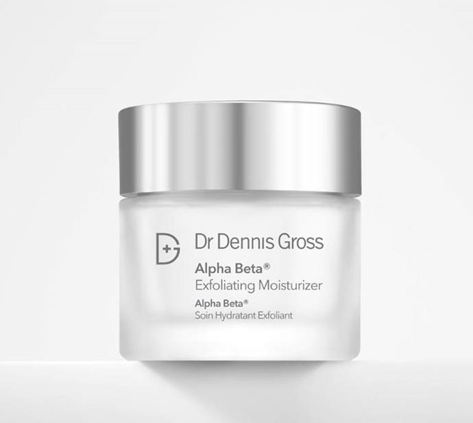 "**Alpha Beta Exfoliating Moisturiser by Dr. Dennis Gross** <br><br> Incorporating salicylic acid, glycolic acid and lactic acid (three of Dr. Dennis Gross's key product ingredients), the Alpha Beta Exfoliating Moisturiser is a masterful solution for tired, oily skin. <br><br> *$104 for 60mL at [MECCA](https://www.mecca.com.au/dr-dennis-gross/alpha-beta-exfoliating-moisturizer/I-032500.html|target=""_blank""