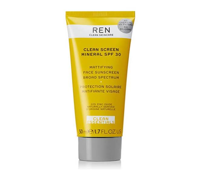 """**Ren Clean Skincare Clean Screen Mineral Mattifying SPF 30 Face Sunscreen, $67.37 at [Net-a-Porter](https://www.net-a-porter.com/au/en/product/1189144/ren_clean_skincare/clean-screen-mineral-mattifying-face-sunscreen-spf30--50ml