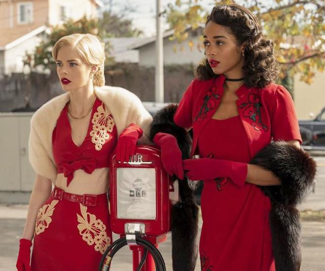 Samara Weaving and Laura Harrier in Netflix's 'Hollywood'.