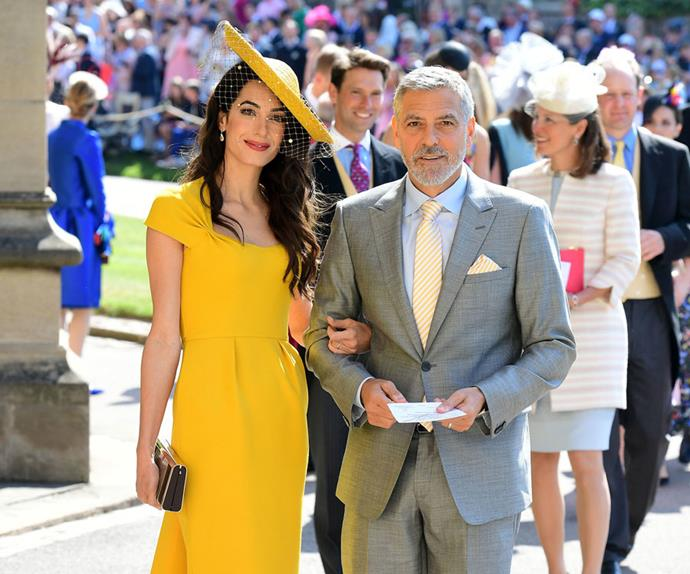 Amal Clooney and George Clooney attend the 2018 royal wedding.