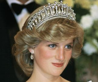 Princess Diana wearing the Cambridge Lover's Knot.