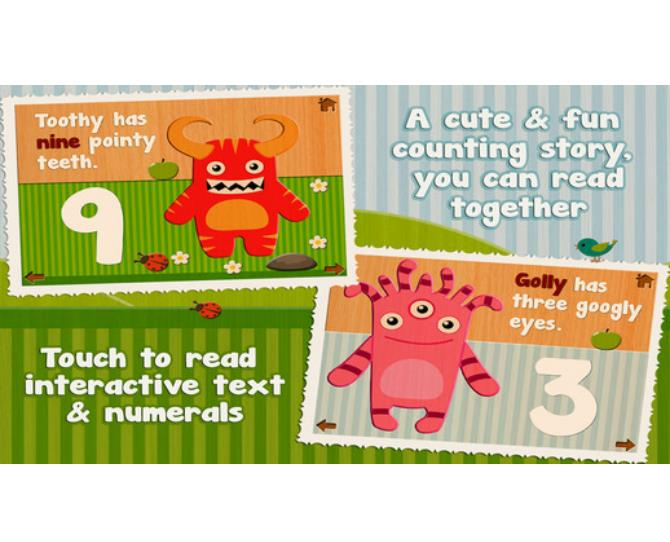 ***Cutie Mini Monsters (iTunes, $3.79)***  Entertain your little one with this interactive counting app that also features easy jigsaw puzzles and a simple story.  Available for iPad and iPhone  Suitable for children aged five and under.