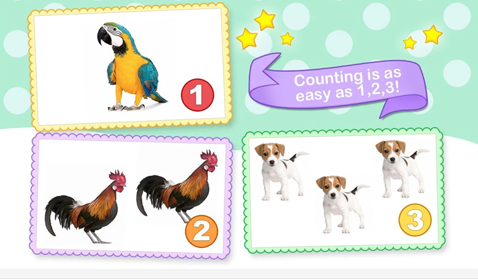 ***Toddler Counting 123 (iTunes and Goggle Play, free)***  A count-along game that eases your child into learning numbers and names of animals, toys and more.  There's no fuss to get started. Children don't need to sort through any complicated menus.  Suitable for children aged two to four.  Available for phones and tablets.