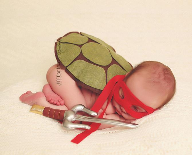 Baby Raphael from TMNT fame.  Don't get on the wrong side of this little ninja turtle.  Photo via JME Portraits