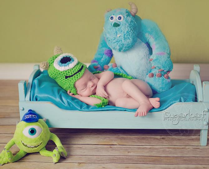 A tiny Monsters Inc fan is born  Image via Sugarloaf Photography