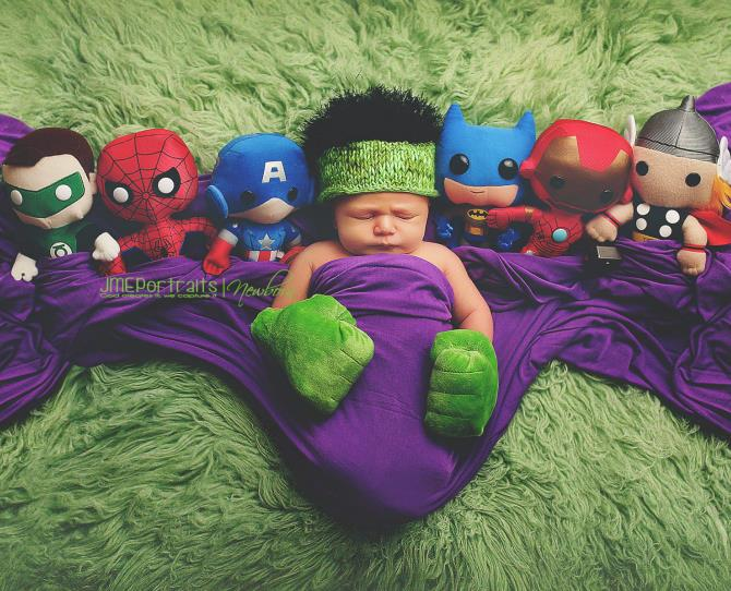 Baby Hulk is the cutest! Don't mess with his toys though. Steal his fave superhero plushy and you'll get a mean right hook.   Photo via JME Portraits