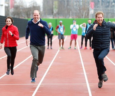The royal trio show off their competitive side as they race for mental health