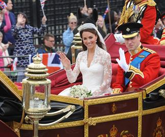 Duchess Catherine and Prince William on their wedding day