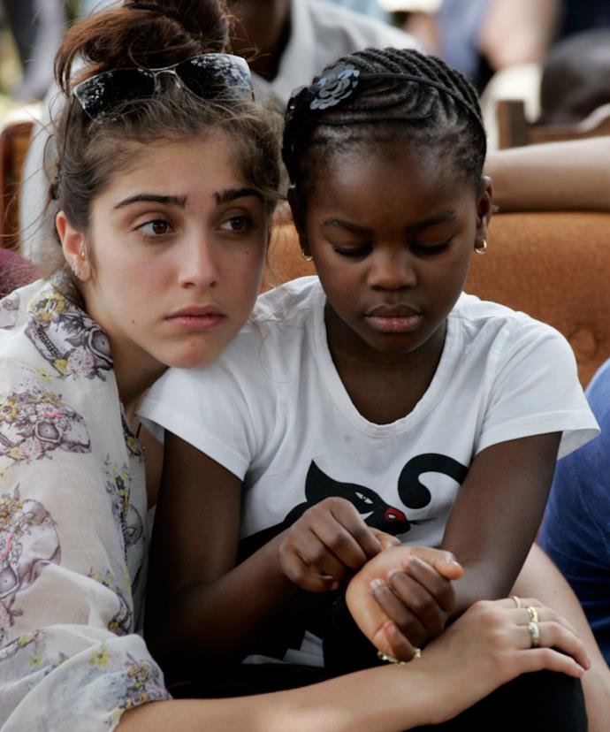 Lourdes Leon, (L) is Madonna's 20-year-old daughter from her relationship with Carlos Leon, while daughter Mercy James (R) was adopted from Malawi.