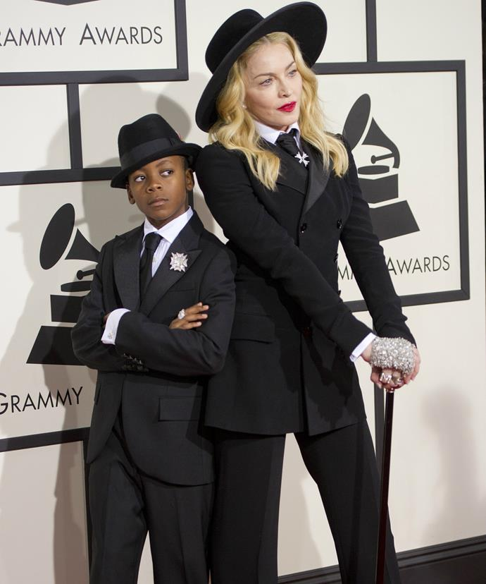 Madonna and David attend the Grammy Awards in matching ensembles.